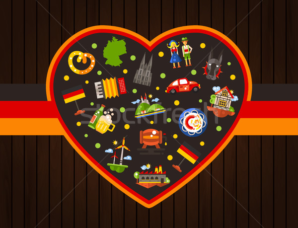 Germany travel heart postcard with famous German symbols   Stock photo © Decorwithme