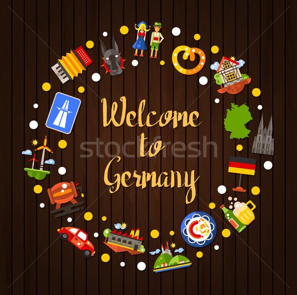 ストックフォト: ドイツ · 旅行 · サークル · はがき · 有名な · シンボル