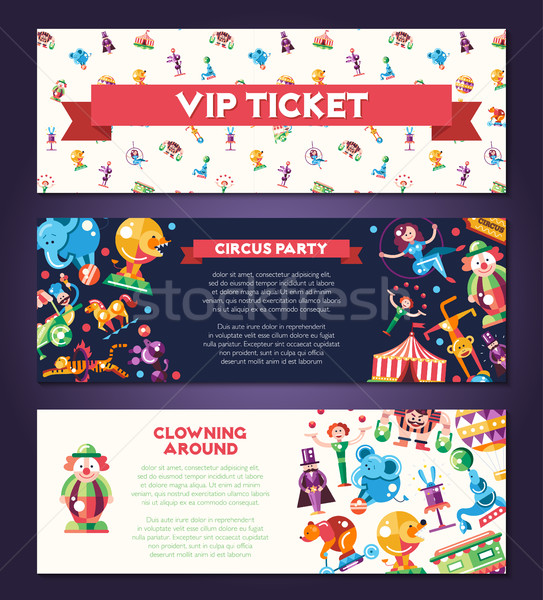 Circus, carnival icons and infographic elements banners set Stock photo © Decorwithme