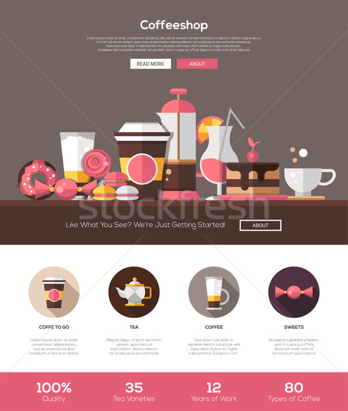 Coffee shop, cafe bakery website template with header and icons Stock photo © Decorwithme