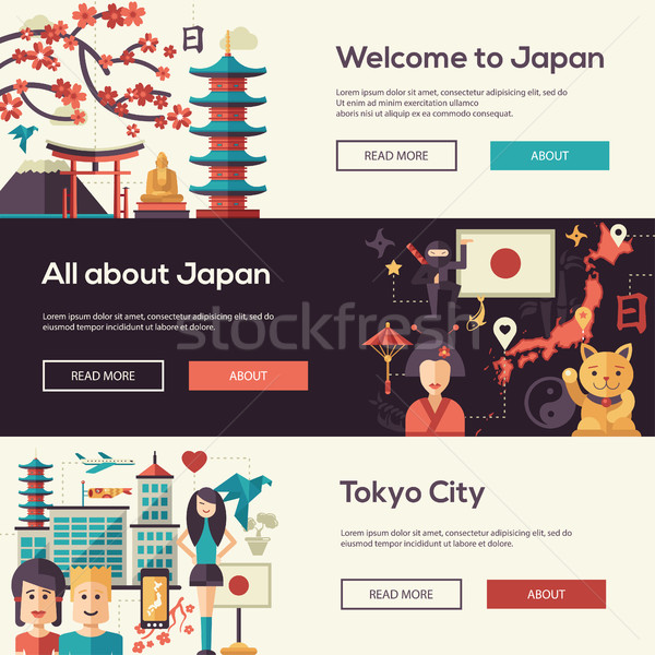 Japan travel banners set with landmarks, famous Japanese symbols Stock photo © Decorwithme