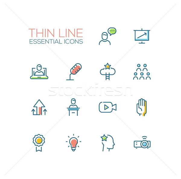 Business Training - Thin Single Line Icons Set Stock photo © Decorwithme