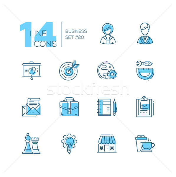 Business - coloured modern single line icons set Stock photo © Decorwithme