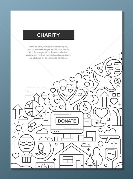 Charity - line design brochure poster template A4 Stock photo © Decorwithme