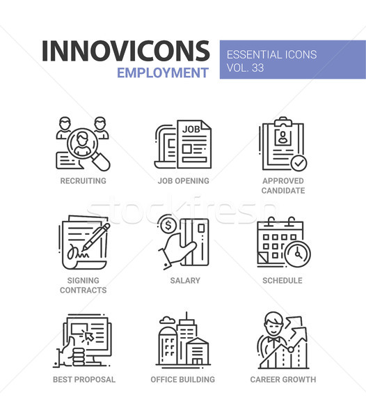 Employment- modern vector line icons set Stock photo © Decorwithme