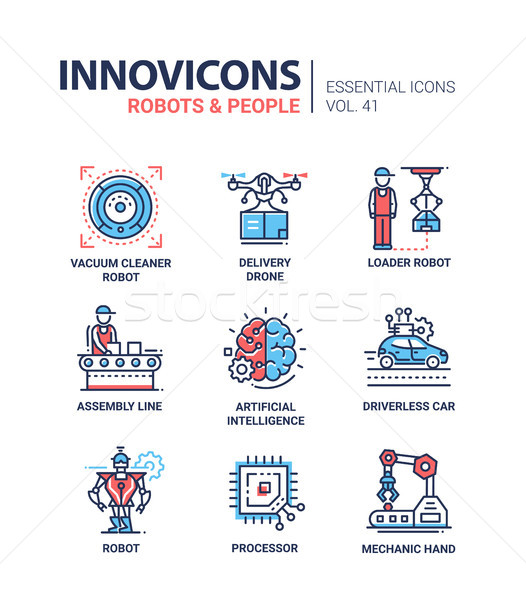 Robots and People - modern vector line design icons set Stock photo © Decorwithme
