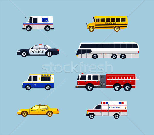 Vehicle Transportation - vector flat design icons set Stock photo © Decorwithme