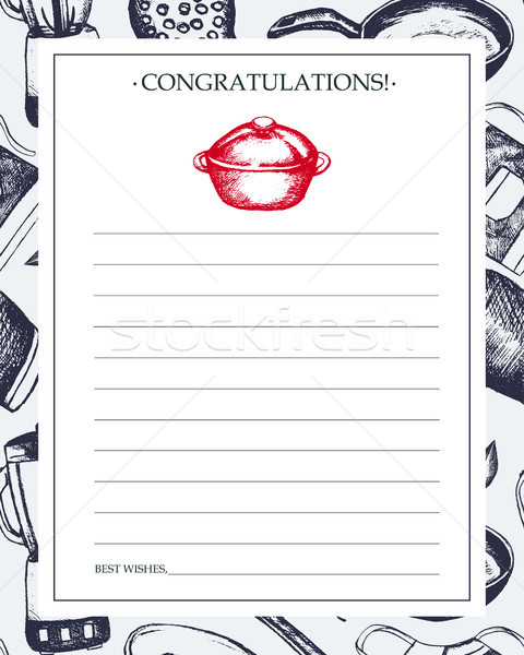 Kitchen Ware - hand drawn template card. Stock photo © Decorwithme