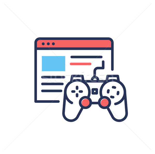 Browser Games - modern single vector line design icon. Stock photo © Decorwithme