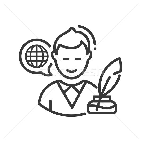Biography - modern vector line design single icon. Stock photo © Decorwithme