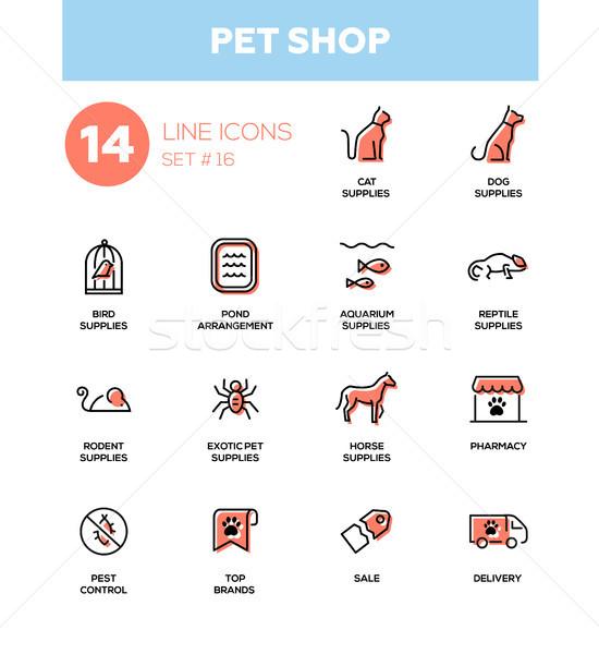 Mascota tienda moderna simple delgado línea Foto stock © Decorwithme