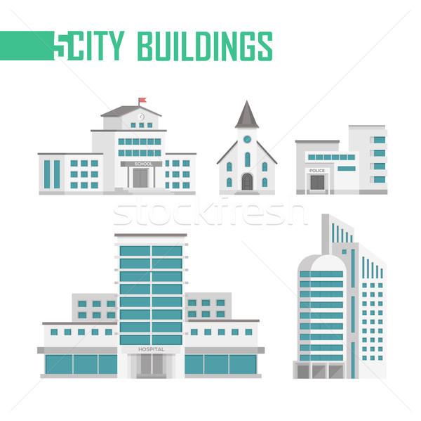öt város épületek szett ikonok izolált Stock fotó © Decorwithme