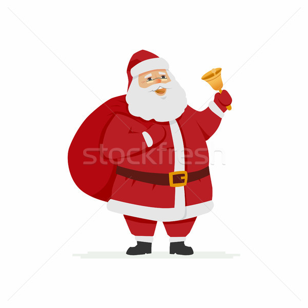 Happy Santa Claus ringing a bell - cartoon character illustration Stock photo © Decorwithme