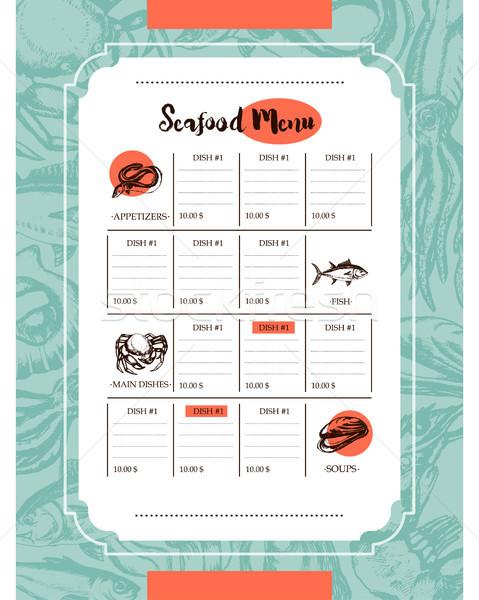 Frutti di mare vettore modello menu Foto d'archivio © Decorwithme