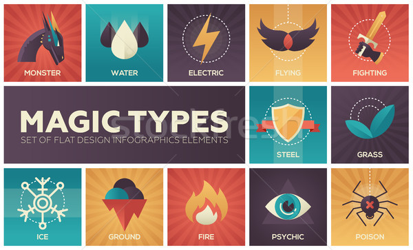 Magic types - set of flat design infographics elements Stock photo © Decorwithme