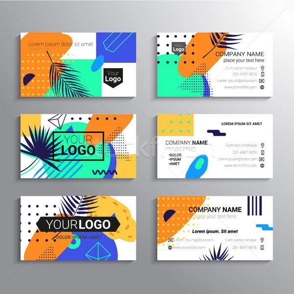 Set of business cards - vector template abstract tropical background Stock photo © Decorwithme