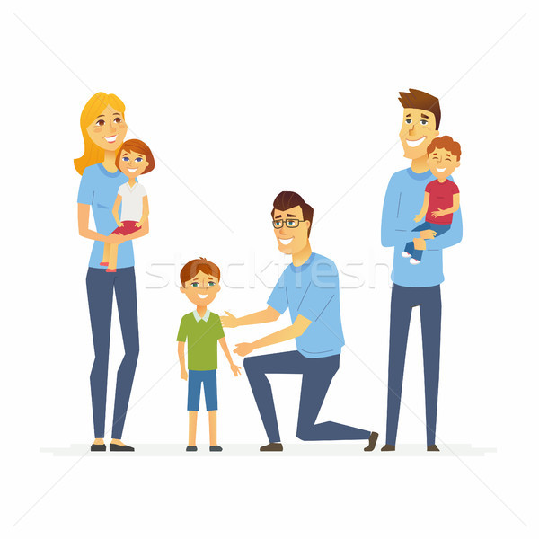 Volunteers help children - cartoon people characters isolated illustration Stock photo © Decorwithme