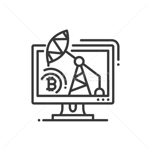 Mining rig - line design single isolated icon Stock photo © Decorwithme