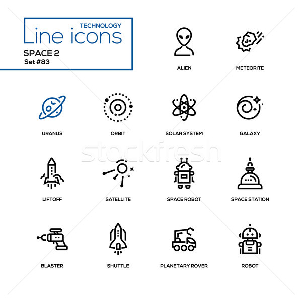 Space concept - line design icons set Stock photo © Decorwithme