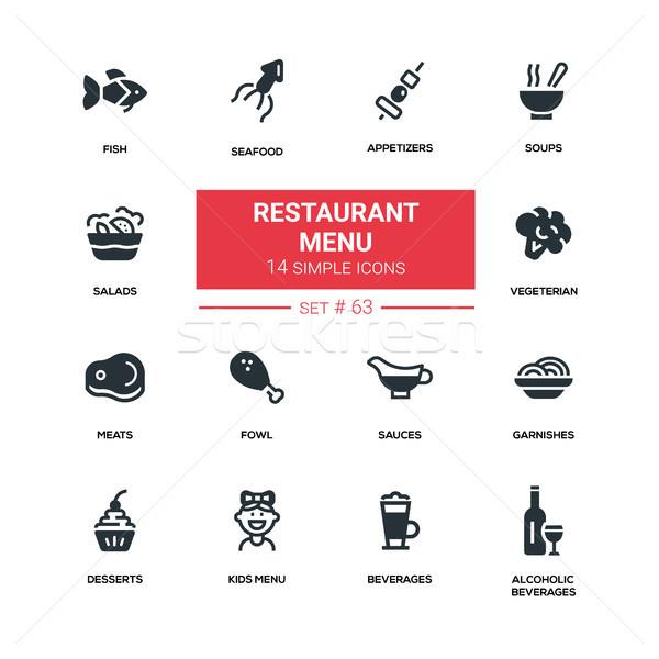 Restaurant menu - line design silhouette icons set Stock photo © Decorwithme