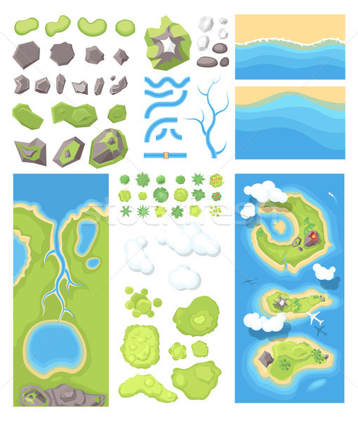 Natural landscape - modern vector set of illustrations Stock photo © Decorwithme