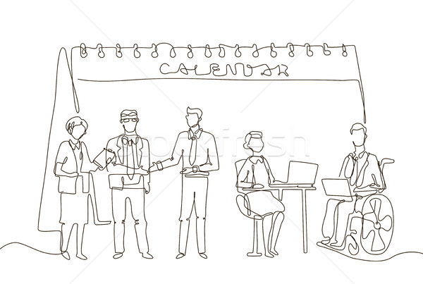 Stock photo: Business meeting - one line design style illustration