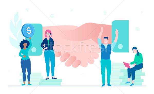 Business overeenkomst ontwerp stijl kleurrijk illustratie Stockfoto © Decorwithme
