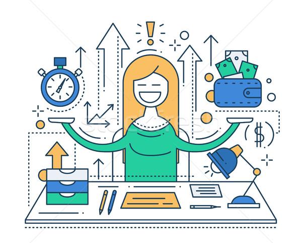 Tijd is geld lijn ontwerp illustratie vector moderne Stockfoto © Decorwithme