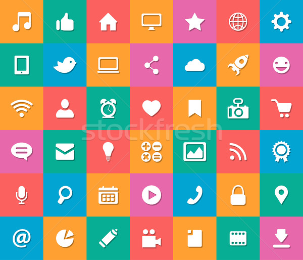 Set Of Modern Flat Design Social Media Icons Vector Illustration C Ilia Boiko Decorwithme 7749802 Stockfresh