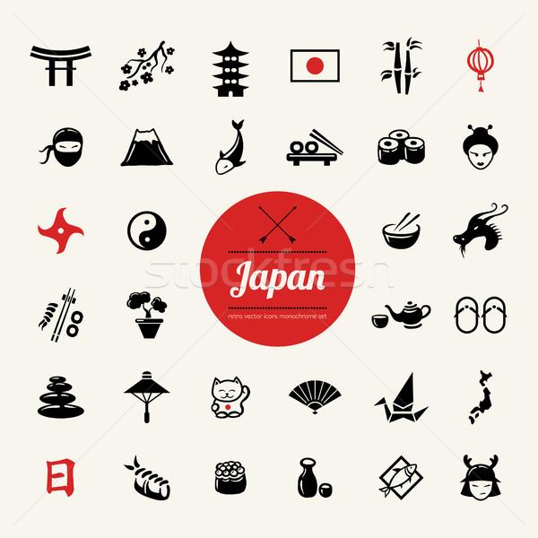 набор дизайна Японский вектора иконки Сток-фото © Decorwithme