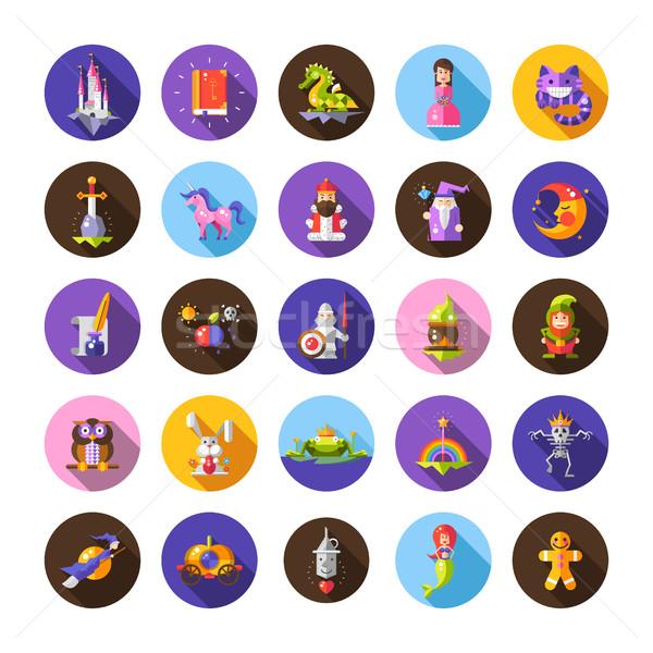 Ilustracja zestaw bajki projektu magic ikona Zdjęcia stock © Decorwithme
