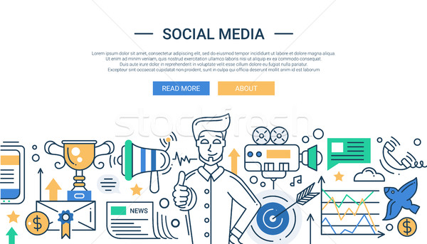 Illustration of modern social media promotion line flat design composition and infographics elements Stock photo © Decorwithme