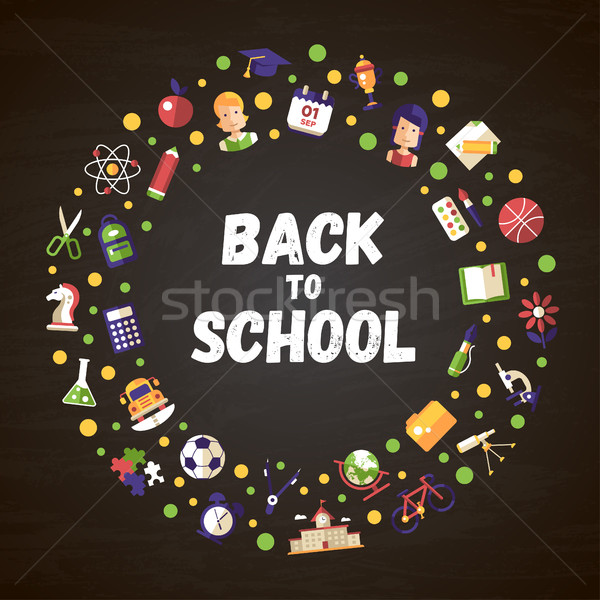 Back to school flat design icons circle composition Stock photo © Decorwithme
