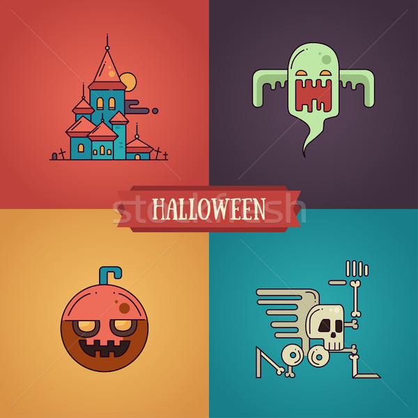 Stock photo: Halloween characters line flat design modern icons set