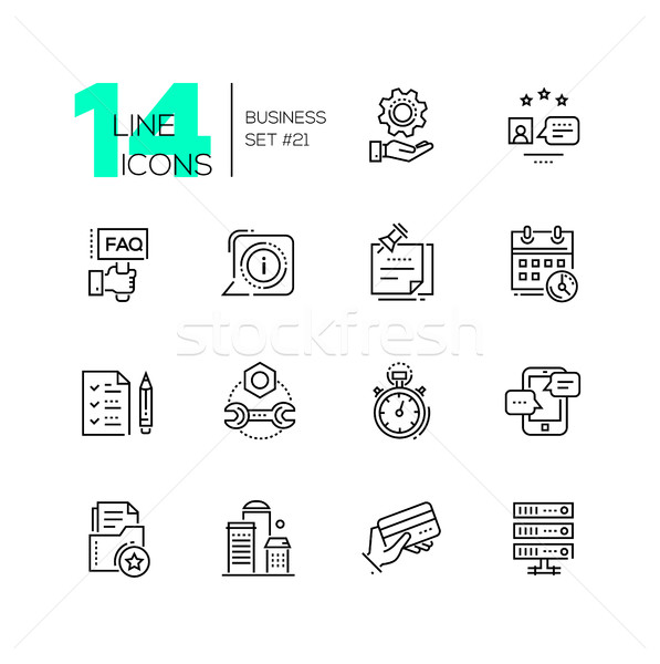 Business - monochromatic modern single line icons set Stock photo © Decorwithme