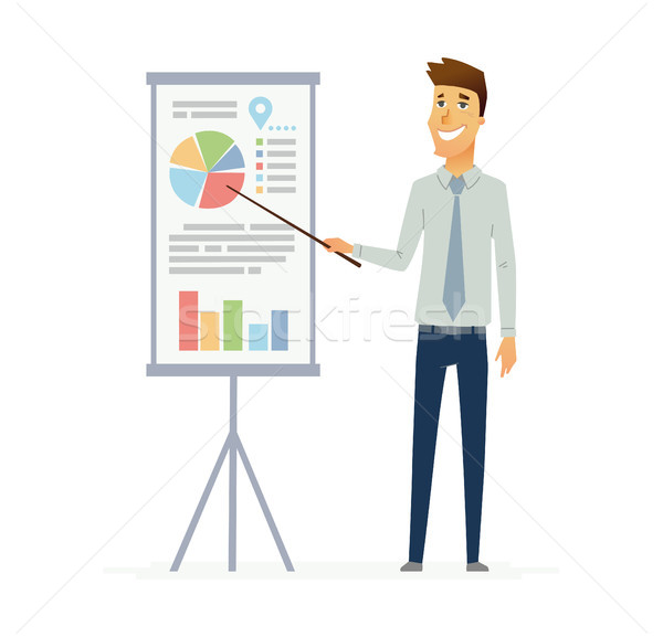 Male Presenter - modern vector flat composition. Stock photo © Decorwithme