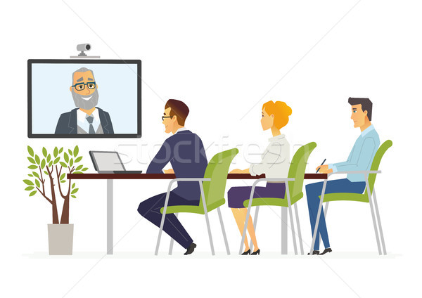 Distance Meeting - modern vector cartoon business characters illustration Stock photo © Decorwithme