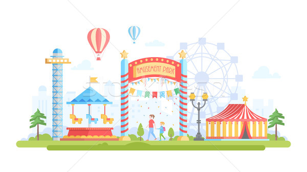 City with amusement park - modern flat design style vector illustration Stock photo © Decorwithme