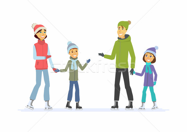 Happy family skating - cartoon people characters illustration Stock photo © Decorwithme