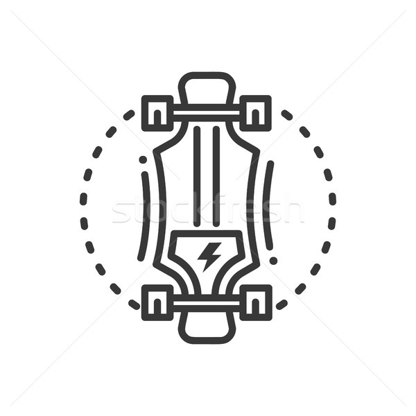 Electric longboard - line design single isolated icon Stock photo © Decorwithme