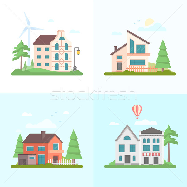Nice buildings - set of modern flat design style vector illustrations Stock photo © Decorwithme