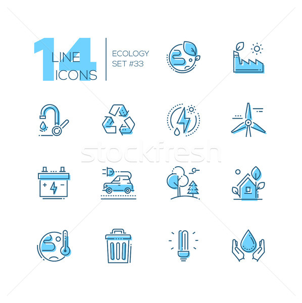Ecology - set of line design style icons Stock photo © Decorwithme