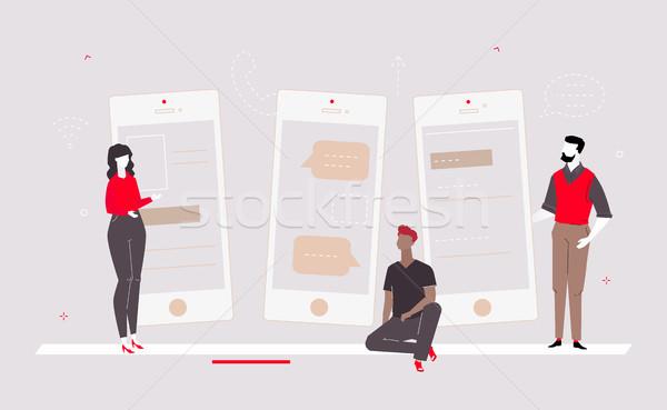 Línea diseno estilo colorido ilustración Foto stock © Decorwithme