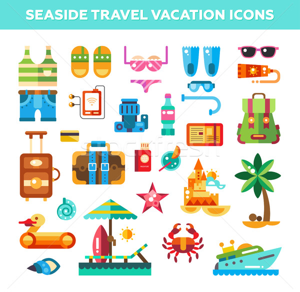 Set of flat design seaside travel vacation icons and infographic Stock photo © Decorwithme