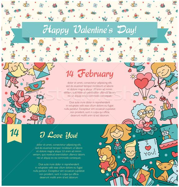 Stockfoto: Ontwerp · valentijnsdag · liefde · romantiek · iconen · banners