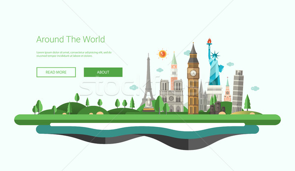 Flat design banner, header illustration with world famous landmarks  Stock photo © Decorwithme