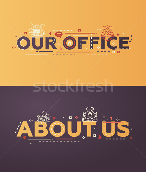 Moderne ontwerp kantoor over ons iconen vector Stockfoto © Decorwithme