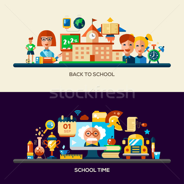 Education website header banner with webdesign elements Stock photo © Decorwithme