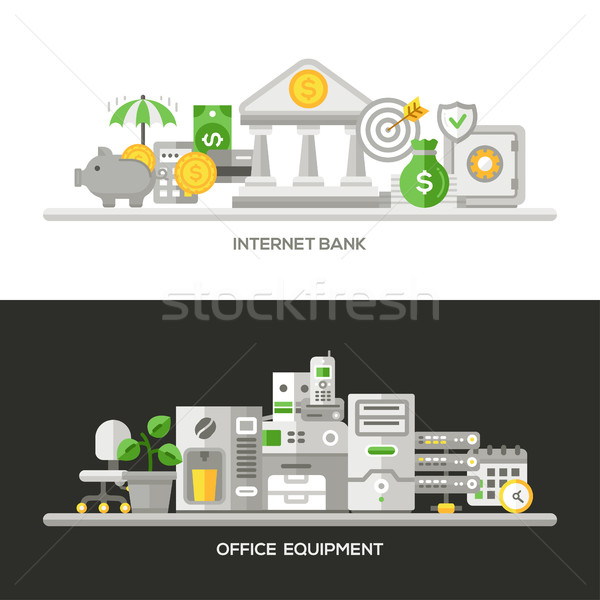 Internet Bank, Office Equipment Flat Design Concept Banners, Headers Set Stock photo © Decorwithme