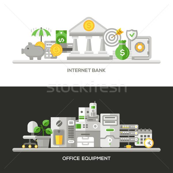 インターネット 銀行 オフィス設備 デザイン バナー セット ストックフォト © Decorwithme